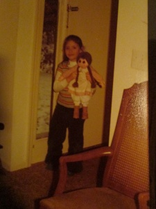 "One of my earliest Laura treasures...handcrafted ""Laura"" dolly for Christmas, about age 6."